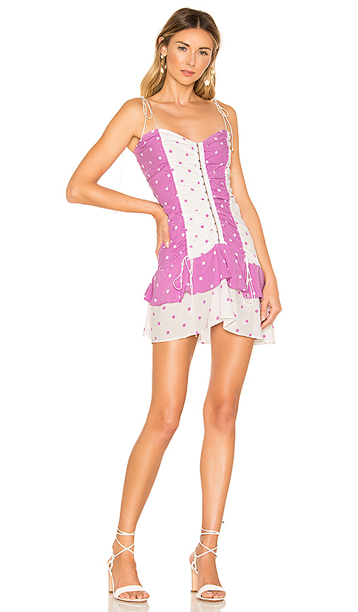 For Love & Lemons Praline Polka Dot Dress in Purple. - size S (also in XS,M,L)