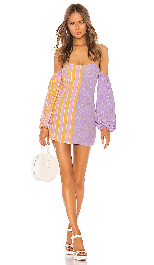 For Love & Lemons Seaside Mixed Print Mini Dress in Purple. - size S (also in XS,M,L)