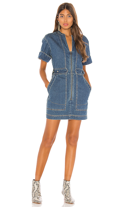 Free People Dream On Denim Mini Dress. - size L (also in XS,S,M)
