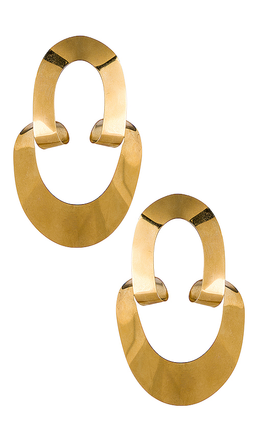 Gaviria Large LSD Earrings in Metallic Gold.