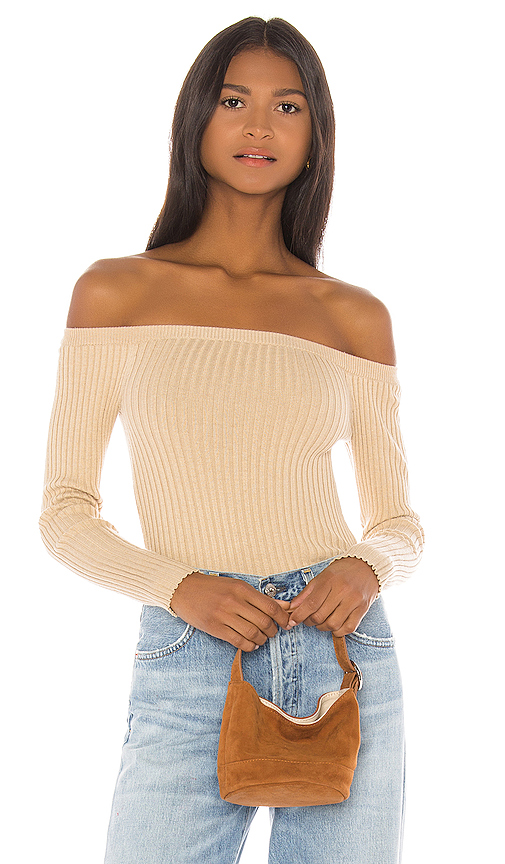 House of Harlow 1960 X REVOLVE Dove Rib Sweater in Beige. - size S (also in L,M,XL,XS,XXS)