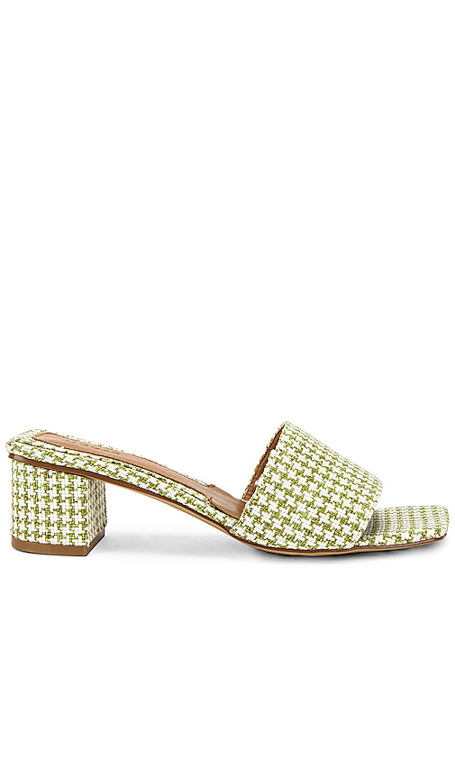 JAGGAR Meadow Houndstooth Sandal in Sage. - size 39 (also in 37,38)