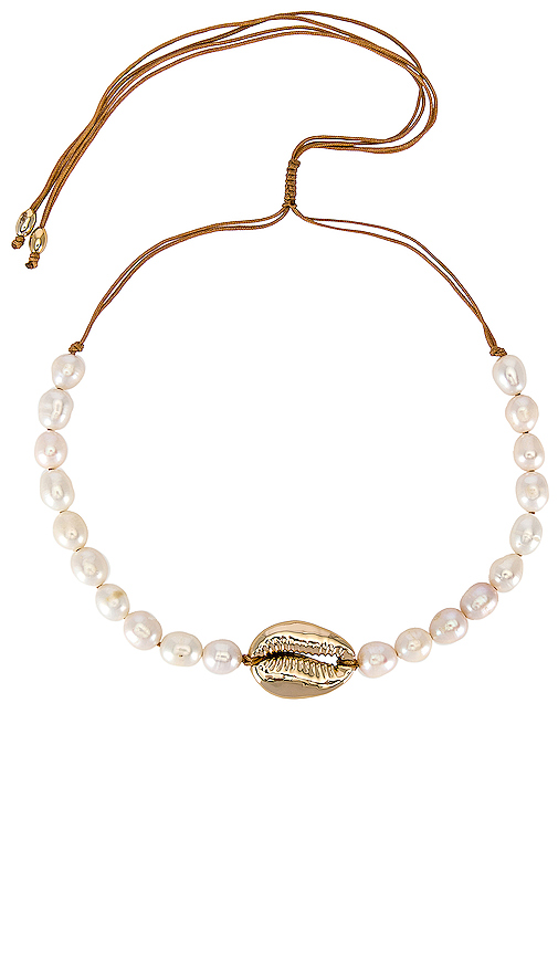 joolz by Martha Calvo Pearl Puka Shell Choker in Metallic Gold.