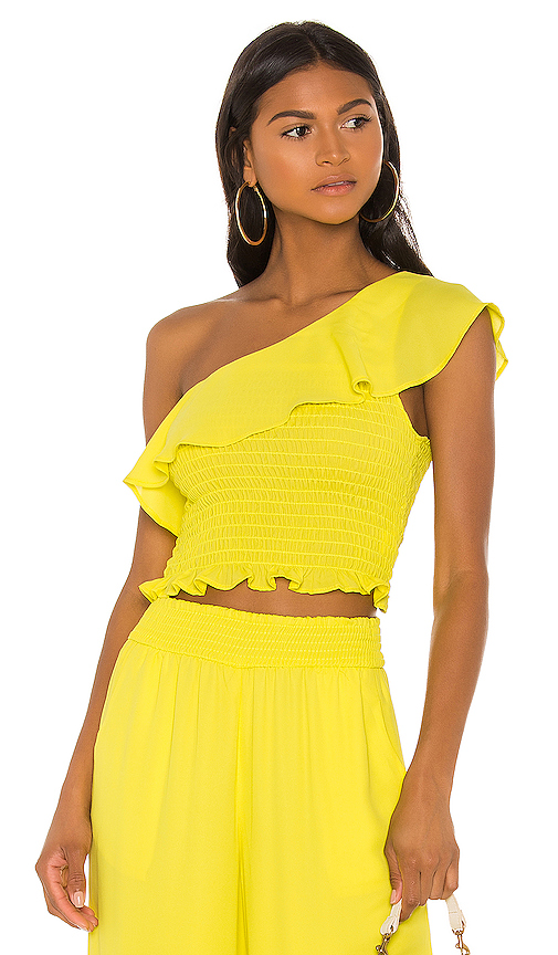 krisa One Shoulder Ruffle Top in Yellow. - size XS (also in S,M,L)
