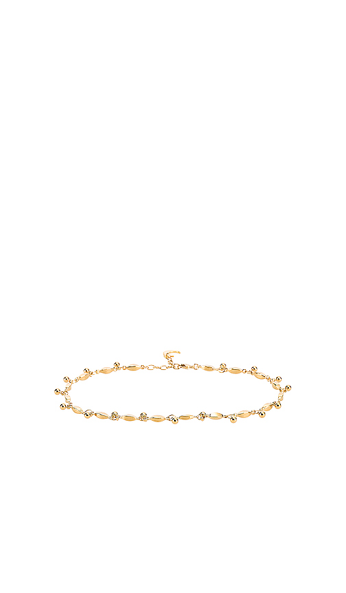 Lili Claspe Amaya Anklet in Metallic Gold.