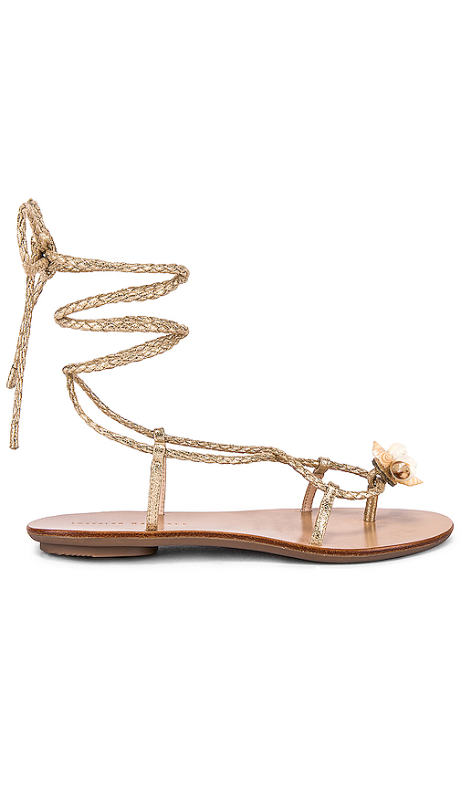 Loeffler Randall Wrap Sandal With Shells in Metallic Gold. - size 5 (also in 6,6.5,7.5,8,8.5,10)