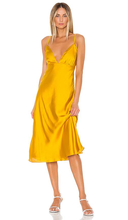 Lovers + Friends Winslet Midi Dress in Mustard. - size XS (also in XXS,S,M,L,XL)