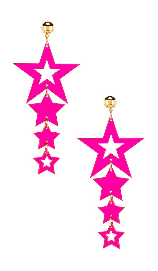 LARUICCI Cascading Star Earrings in Pink.