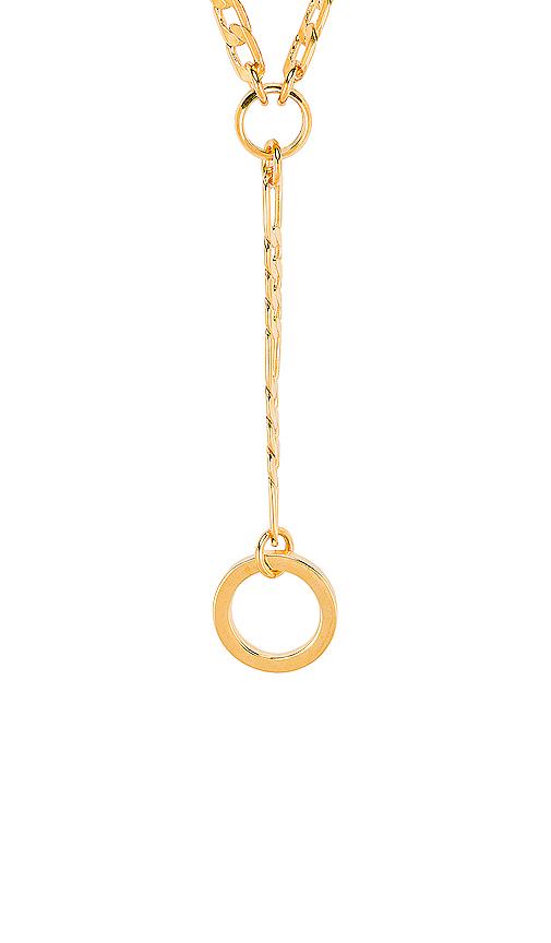 LARUICCI Circle Lariat in Metallic Gold.