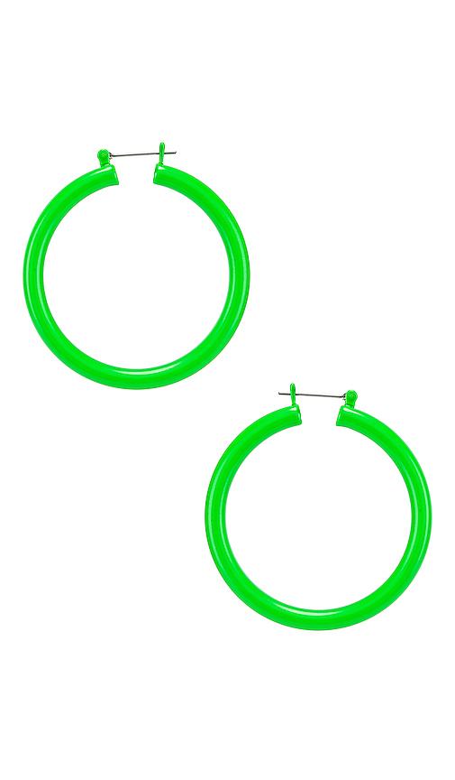 Luv AJ Rainbow Amalfi Hoop Earrings in Green.
