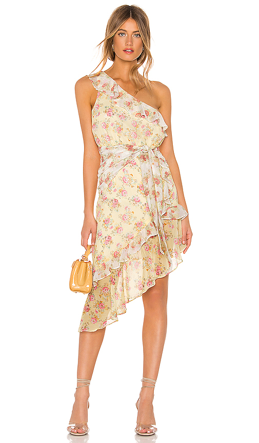 MAJORELLE Isabelle Midi Dress in Yellow. - size S (also in XXS,XS,M,L,XL)