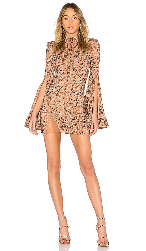 Michael Costello x REVOLVE Mr. Gibson Mini Dress in Nude. - size XXS (also in S)