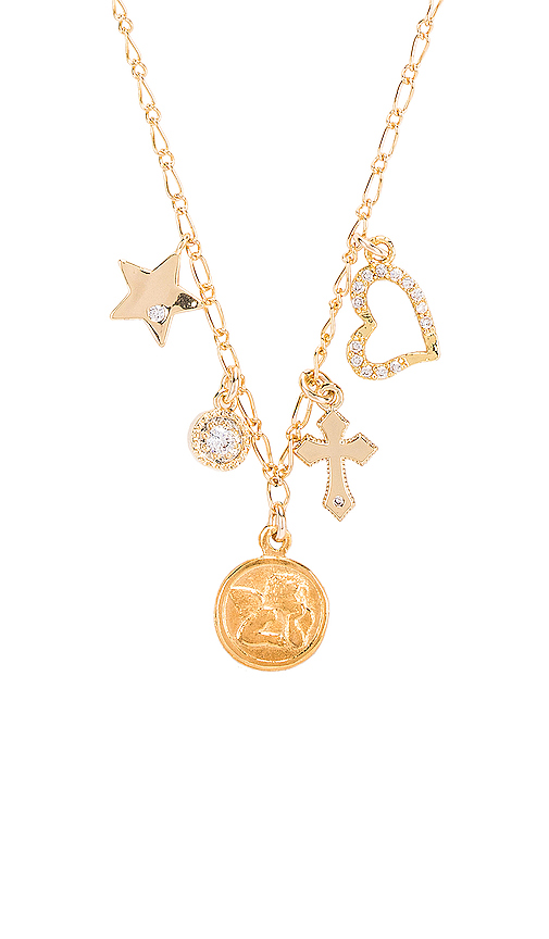 Natalie B Jewelry Angelic Charm Necklace in Metallic Gold.