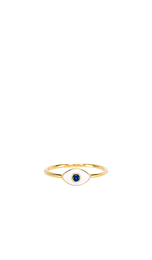 Natalie B Jewelry Eye See You Ring in Metallic Gold. - size 8 (also in 7,6)