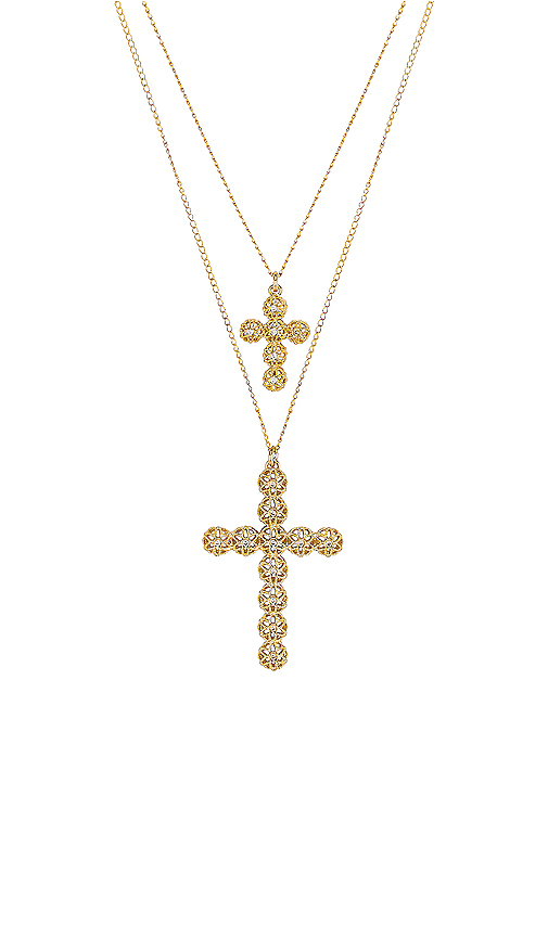 Paradigm Double Cross Necklace in Metallic Gold.