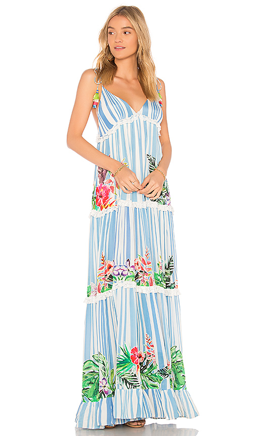 ROCOCO SAND Stripe Blossom Dress in Blue. - size M (also in L,S,XS)