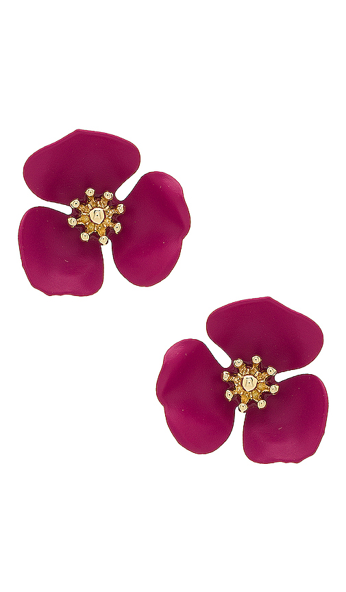 SHASHI Flower Stud in Purple.