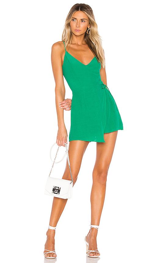 superdown Karen Wrap Romper in Green. - size L (also in XXS,XS,S,M,XL)