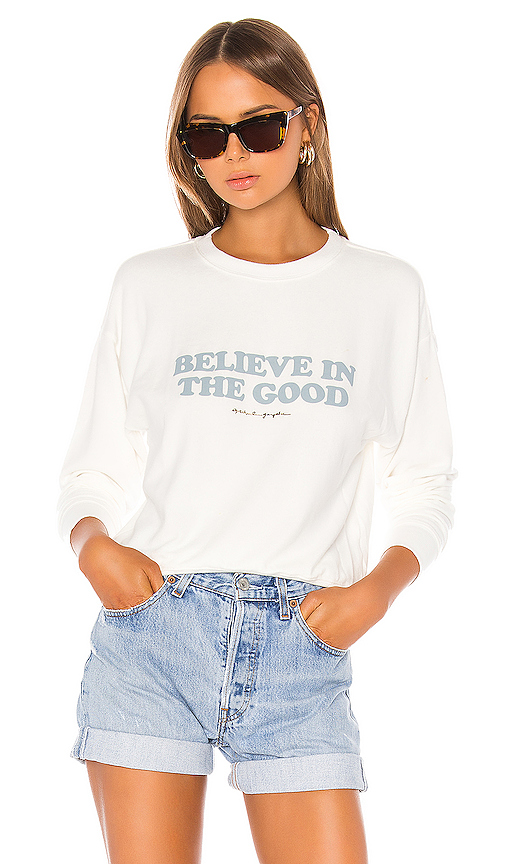 Spiritual Gangster Believe Malibu Crew Neck in White. - size M (also in XS,S,L)
