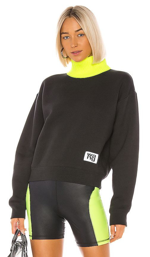 T by Alexander Wang Dense Fleece Neck Trim Turtleneck in Black. - size S (also in XS,M,L)