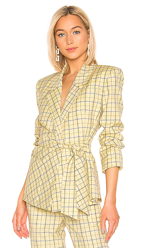 Tibi Marvel Plaid Wrap Jacket in Yellow. - size 4 (also in 2,8)