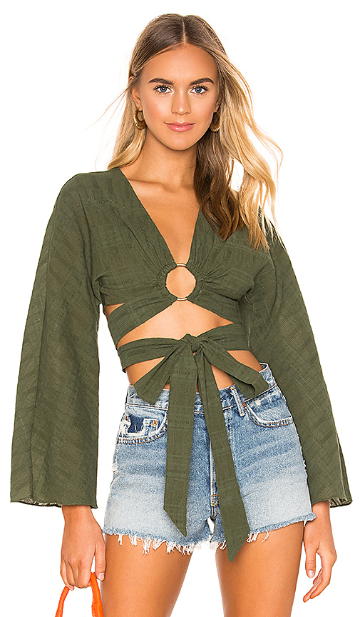 Tularosa Molly Blouse in Dark Green. - size XXS (also in XS,S,M,L,XL)