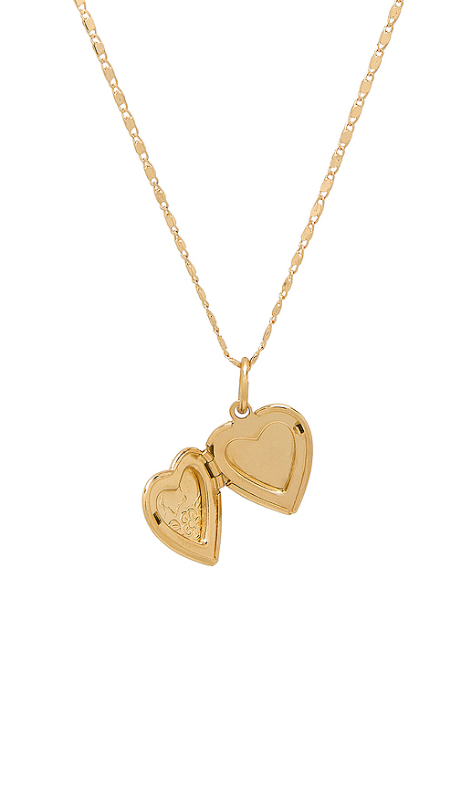 Vanessa Mooney The Heart Locket Necklace in Metallic Gold.