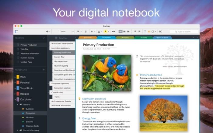 Outline –your digital notebook Screenshot 01 1nangxkn