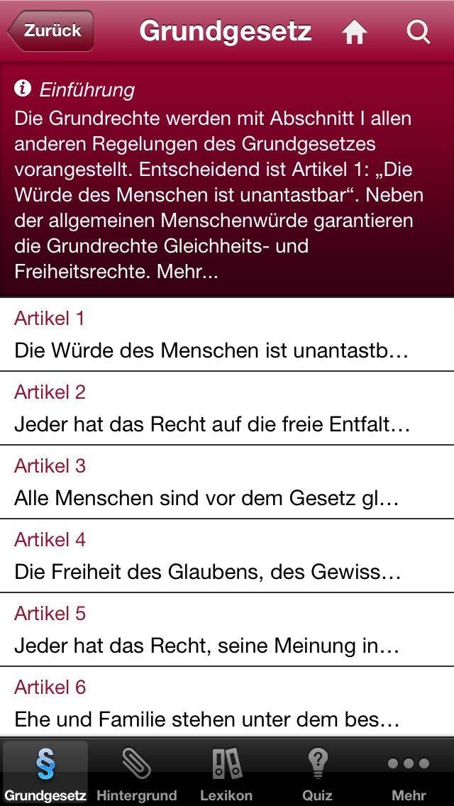 Grundgesetz der Bundesrepublik Deutschland Screenshot