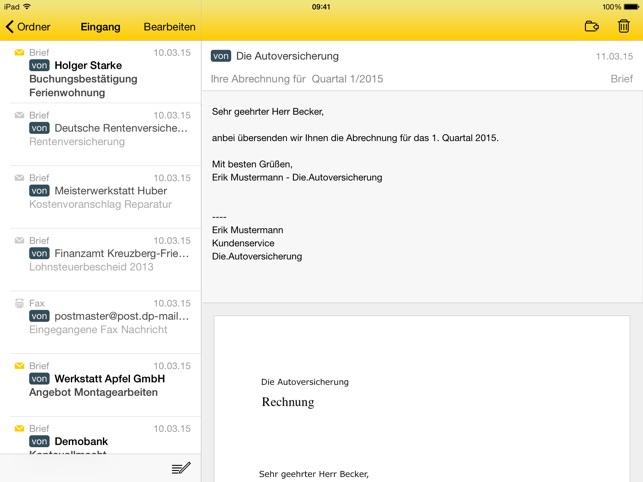 E-POST Briefe und Faxe Screenshot