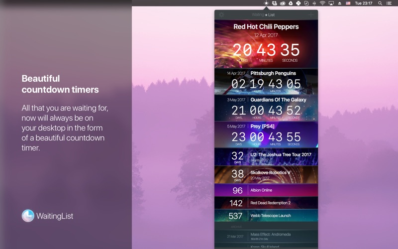 WaitingList for Mac 1.2.3 破解版 - 倒计时工具