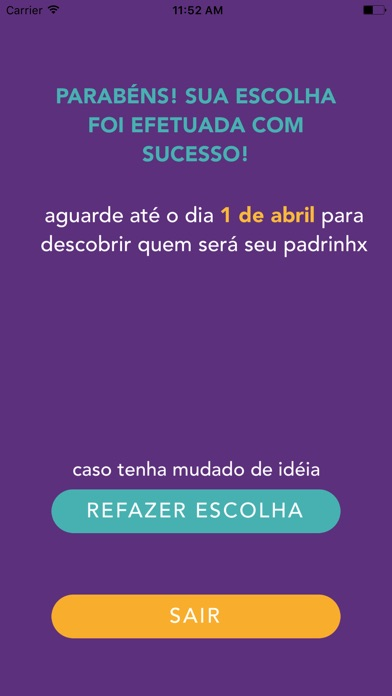 Screenshot do app Apadrinhamento: Design