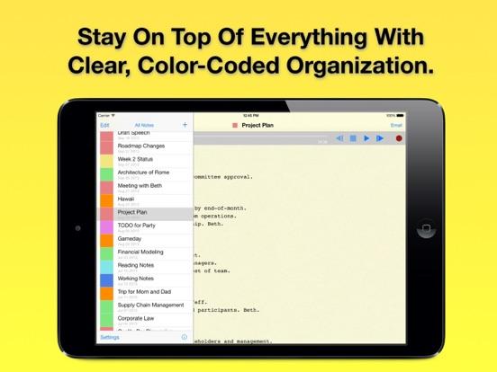 Screenshot do app Audio Notebook: Sound Recorder, Notepad, Organizer