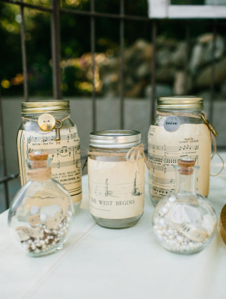 Upcycled Mason jars decorated with sheet music