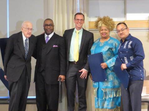 State Rep. Jon Hoadley, center, with state proclamation recipients Rev. Robert Rasmussen (Lifetime Achievement Award); Rev. Dr. Addis Moore president of Northside Ministerial Alliance (ISAAC Ally of the Year Award); Ms. Venessa Collins-Smith, co-chair of ISAAC Youth Violence Prevention Task Force (ISAAC Leader of the Year Award); and Mr, Adrian Vazquez, executive director of Hispanic American Council (ISAAC Founders' Award.)
