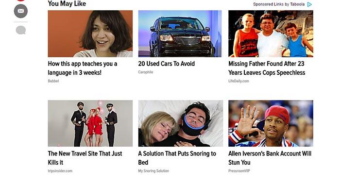 Ads on Huffington Posts site