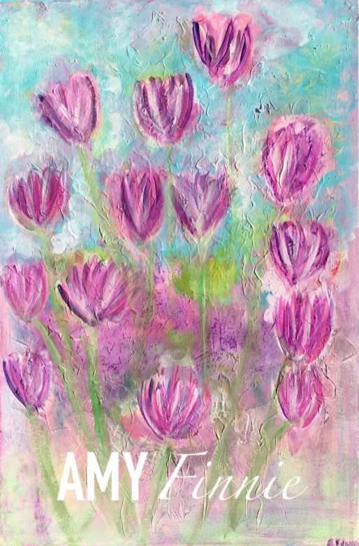 Abstract Purple Flowers 20x30
