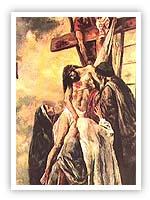 Artist's depiction of Hazrat Isa on the cross.