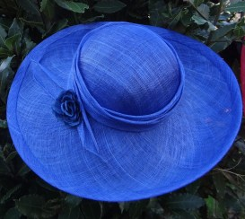 Wide Royal Blue Brim Mother of the Bride Hats