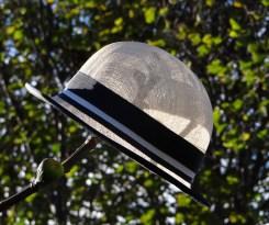 Ivory Sinamay Straw Bowler Hat