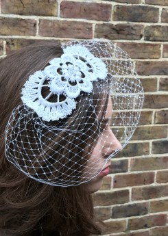 Simple Birdcage Veiling and Vintage Lace Headpiece