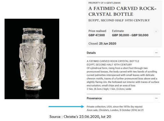 Christie's 25.06.2020 lot 20, example of provenance mentioning the 1970's
