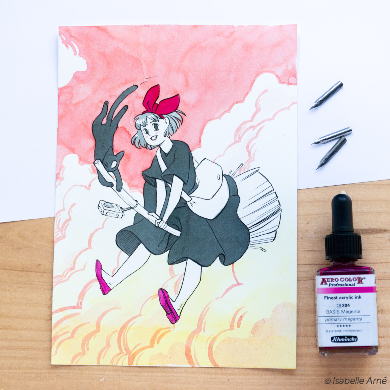 kiki the witch ghibli inktober