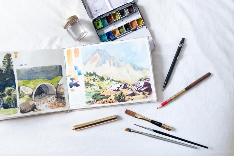 watercolor set for travel journal sketchbook