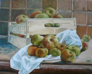 "oil on canvas ""cagette de pommes"""