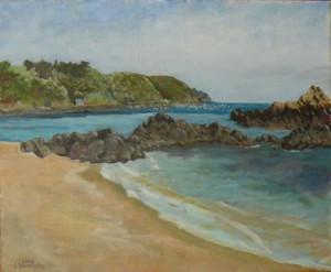 "oil on canvas ""la plage de chateau serein"""