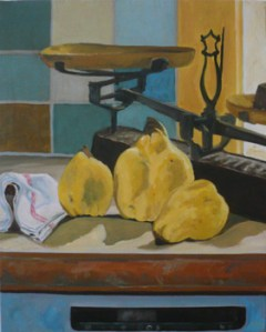 "oil on canvas ""coings dans la cuisine"""