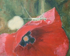 "oil on canvas ""sauterelle et coquelicot"""