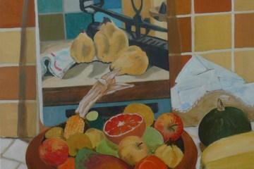 """oil on canvas """"corbeille de fruits et cucurbitacés"""""""