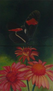 "oil on canvas ""étude papillon 2"""